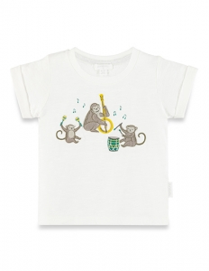 Purebaby 有機棉猴子樂園短T-純白色