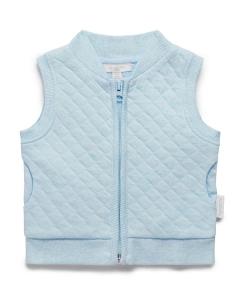 Purebaby有機棉鋪棉背心-藍色混色