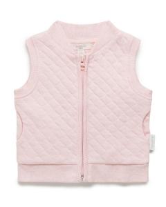 Purebaby有機棉保暖鋪棉背心-粉色純色