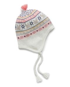 Purebaby有機棉針織帽-橘藍圖騰
