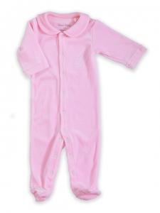 Deux Filles有機棉棉絨包腳連身裝-粉紅純色