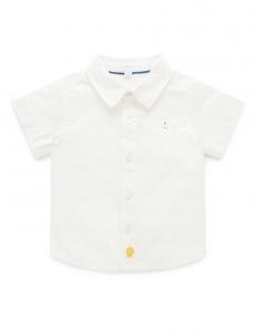 Purebaby-白色短袖襯衫-純白色