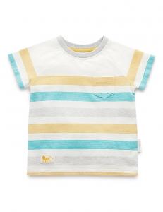 Purebaby-條紋上衣-灰藍色條紋 2-4歲