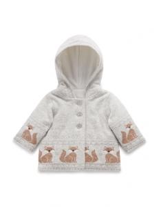 Purebaby有機棉針織鋪棉外套-灰色狐狸