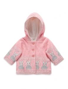 Purebaby有機棉針織鋪棉外套-粉紅混色