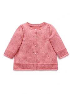 Purebaby有機棉針織外套-粉色純色