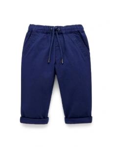 Purebaby有機棉休閒長褲-12M~3T-藍色