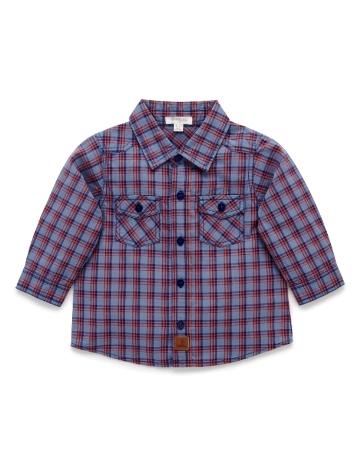 Purebaby有機棉格子襯衫-12M~4T