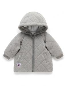 Purebaby有機棉連帽鋪棉外套-灰色