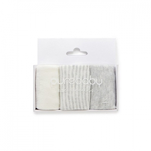 Purebaby有機棉襪子三件組-灰色