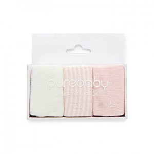 Purebaby有機棉襪子三件組-粉紅色