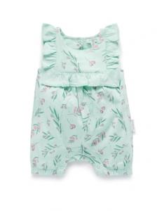 Purebaby 有機棉短袖連身裝 -綠色