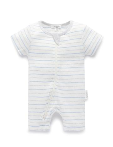 Purebaby 有機棉短袖拉鍊連身裝