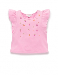 Purebaby 有機棉嬰童刺繡上衣-粉色水果刺繡