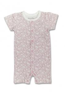 Deux Filles有機棉女童短袖連身裝-粉底白花
