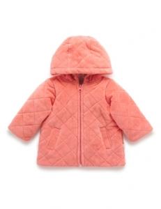 Purebaby有機棉連帽鋪棉外套-12M~4T-粉橘色