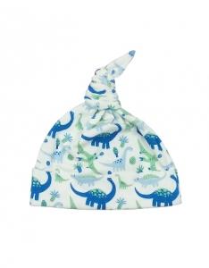 Deux Filles有機棉帶結嬰兒帽-藍色恐龍