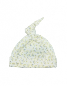 Deux Filles有機棉帶結嬰兒帽-黃色枝葉