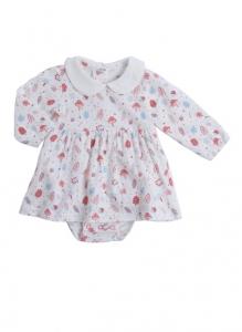 Deux Filles有機棉長袖洋裝包屁衣-粉紅磨菇