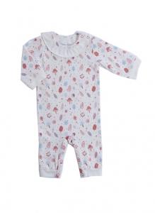 Deux Filles有機棉長袖連身裝-粉紅磨菇