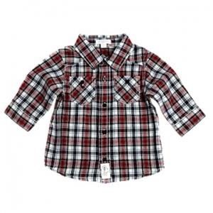 Purebaby有機棉嬰童長袖襯衫-紅格紋