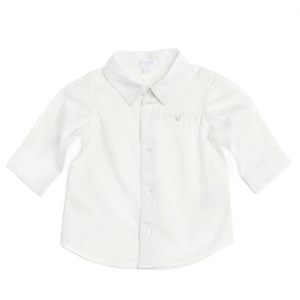 Purebaby有機棉嬰童長袖襯衫-白色