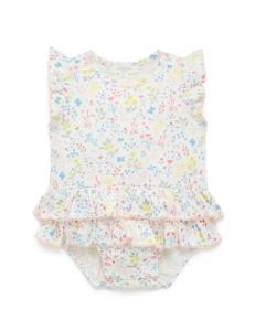 Purebaby 有機棉嬰童短袖包屁衣-白底印花