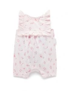 Purebaby 有機棉嬰童短袖連身裝-粉色印花