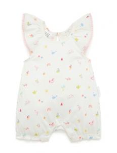 Purebaby有機棉嬰童短袖連身裝-白底印花