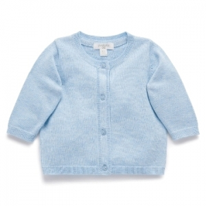 Purebaby 有機棉嬰童針織外套-藍色