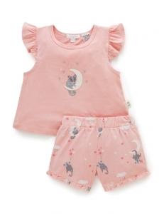 Purebaby 有機棉短袖套裝-粉色
