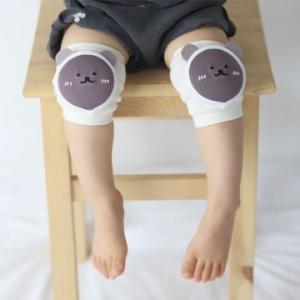 Merebe嬰童學爬學步護膝墊-灰棕小熊