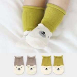 Merebe嬰童短襪 -芥末黃