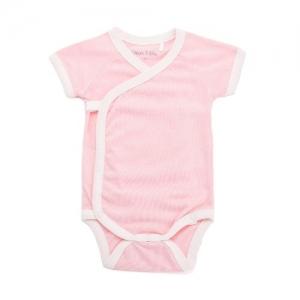 Deux Filles有機棉側開襟包屁衣-粉色