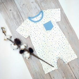 Deux Filles有機棉男童短袖連身裝-星星圖案