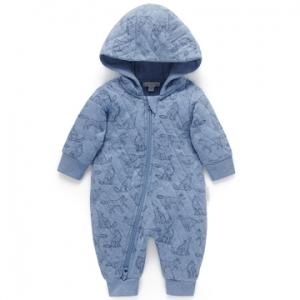 Purebaby有機棉嬰童連帽拉鍊連身裝-灰藍鋪棉