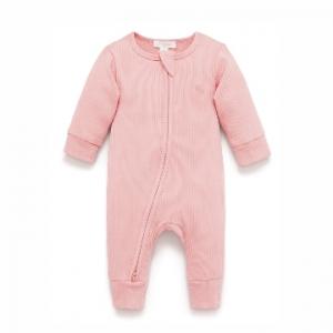 Purebaby有機棉嬰童拉鏈連身裝-粉色