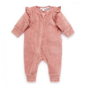 Purebaby有機棉嬰童拉鍊連身裝-粉色絨布