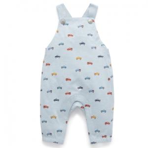 Purebaby有機棉嬰童吊帶連身裝-藍色汽車印花