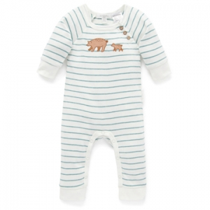 Purebaby有機棉嬰童連身裝-小熊