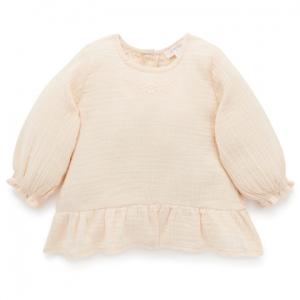 Purebaby 有機棉女童上衣-米白刺繡