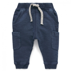 Purebaby 有機棉休閒運動褲-藍色