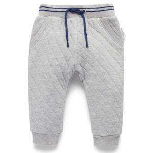 Purebaby有機棉男童鋪棉長褲-淺灰色