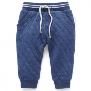 Purebaby有機棉男童鋪棉長褲 -藍色