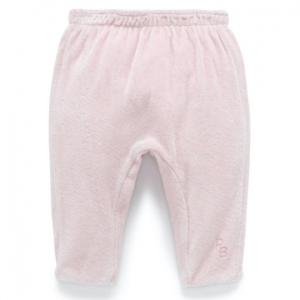 Purebaby有機棉嬰童絨布鋪綿褲-淺粉