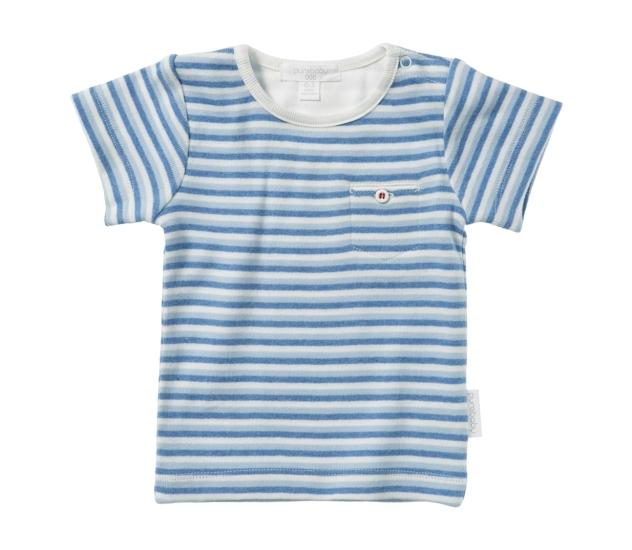 Purebaby  有機棉條紋口袋短T