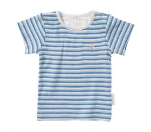 Purebaby  有機棉條紋口袋短T-藍色6月-3歲