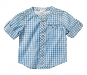 Purebaby  有機棉格紋襯衫-藍格紋