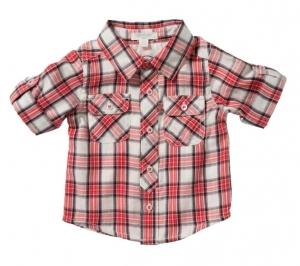 Purebaby  有機棉格紋雙口袋襯衫-灰白紅格紋