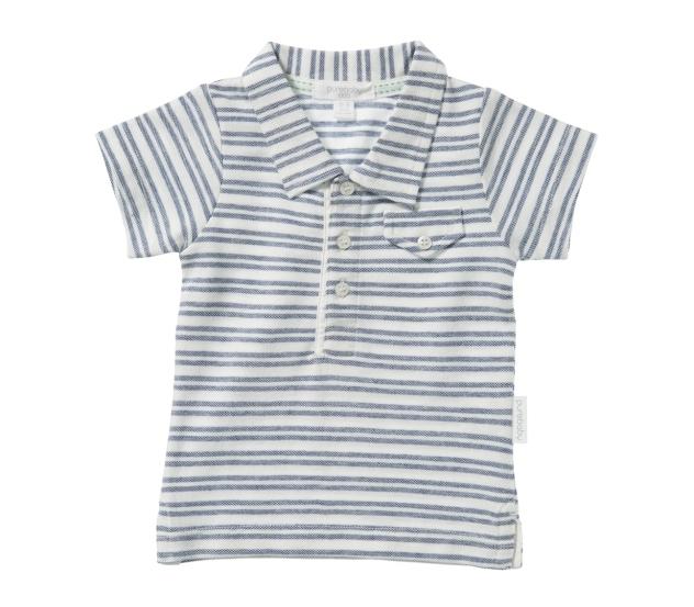 Purebaby  有機棉條紋口袋POLO衫